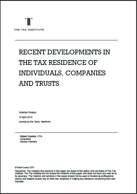 Recent developments in the tax residence of individuals, companies and trusts - thumbnail